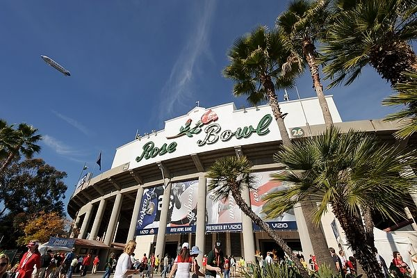 The exterior of Rose Bowl Stadium is pictured before the start of the 2012 Rose Bowl