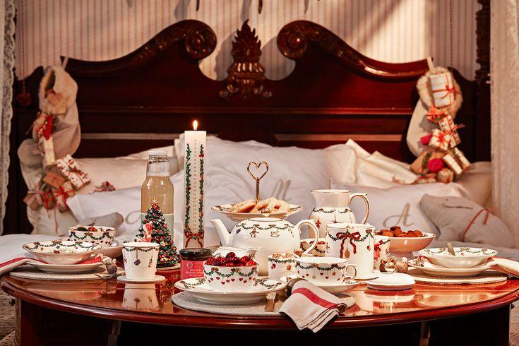 Royal Copenhagen 2015 Christmas - Christmas morning bedroom vignette with Star Fluted Christmas china - Royal Copenhagen via Atticmag