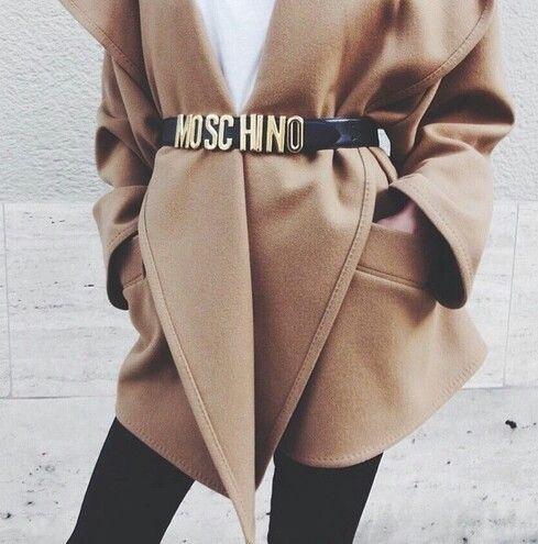 camal coat in moschino belt