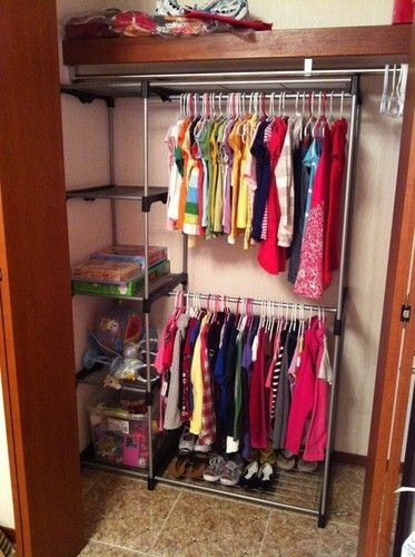 Double Closet Rod Hanging Storage Rack Organizer Space Saver Clothes NEW Shelf N