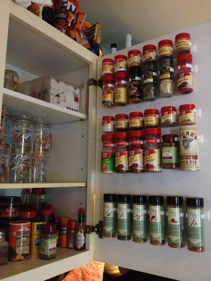 I organized my spice cabinet using spice clips from dyersonline.com. They were about 5 or 6 dollars for a pack of 12 clips.  Look how much more room I now have. Not to mention I can see each spice without taking apart the whole cabinet!!
