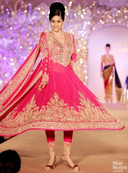 Pink anarkali. Abu Jani and Sandeep Khosla presents The Golden Peacock Collection.