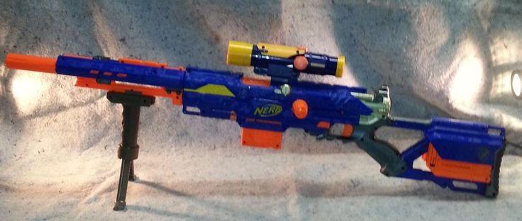 Nerf Blue Longstrike Cs 6 Sniper Rife W Bipod 1 Clip 15
