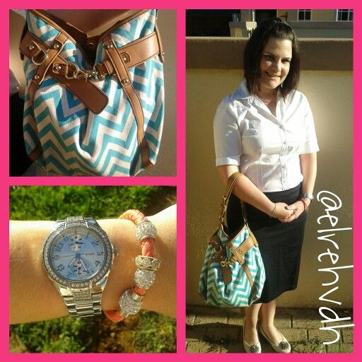 Bag from #avon Shirt-Woolworths Shoes-Foshini Watch-Guess Skirt-Foshini and my face complements from Avon and Maybeline