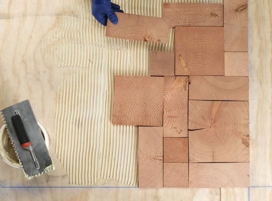 Diy End Grain Wood Tiles From Salvaged Wood Use For - Diy Table Using Flooring