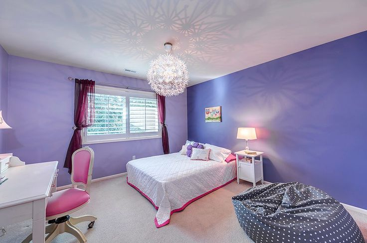 Traditional Kids Bedroom with Polka Dotted Twill Cotton Bean Bag, Carpet, Chandelier, Edged Border Duvet Cover, Lilac Desk