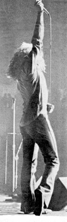Robert Plant in concert with Led Zeppelin in Vancouver BC Canada - August 19, 1971 - Photo via Pinterest board of Zephead