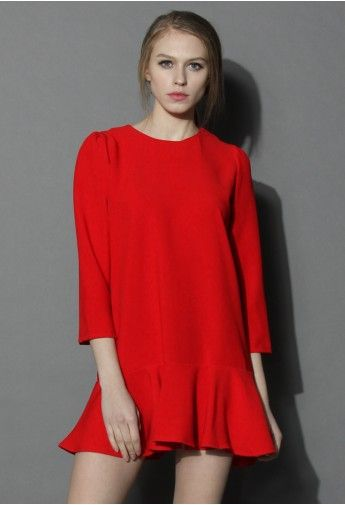 Jubilant Red Flare Hem Dress