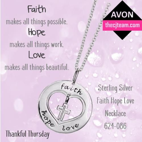 Avon Sterling Silver Faith, Hope, Love Necklace.  CJ Team Beauty Biz | helping you buy or sell Avon online Regularly $39.99 in Avon Campaign 7 2016.  Shop Avon online @ www.thecjteam.com.  March 3, 2016 to March 30, 2016.  #CJTeam #Avon #Campaign7 #Sale #ThankfulThursday