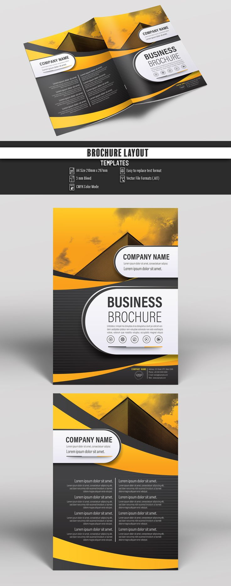 Brochure Cover Layout with Gray and Orange Accents 26. Buy this stock template and explore similar templates at Adobe Stock  #Brochure #Business #Proposal #Booklet #Flyer #Template #Design #Layout #Cover #Book #Booklet #A4 #Annual #Report| Brochure template | Brochure design template | Flyers | Template | Brochures | Flyer Background | Background design | Business Proposal | Proposal Design | Booklet | Professional | Professional - Proposal - Brochure - Template
