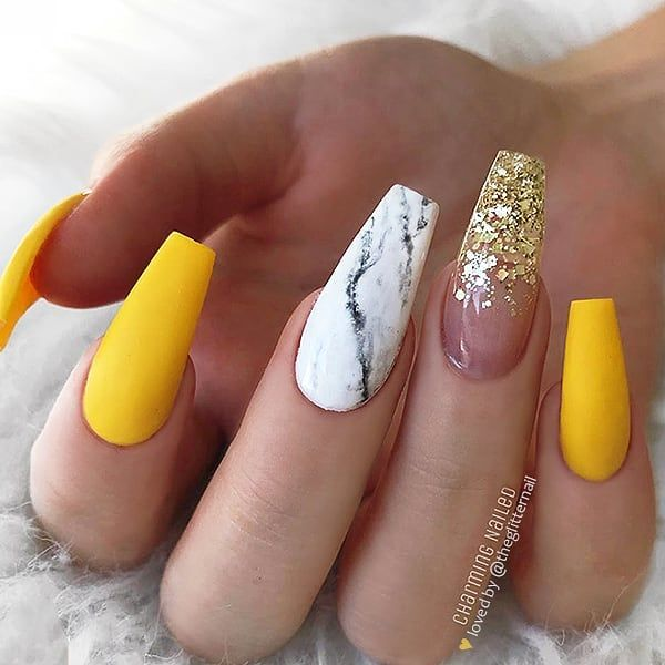 Matte Sunny Yellow White Marble And Gold Glitter Fade On Long Coffin Nails Nail Art Coffin Nails Long Coffin Nails Designs Best Acrylic Nails