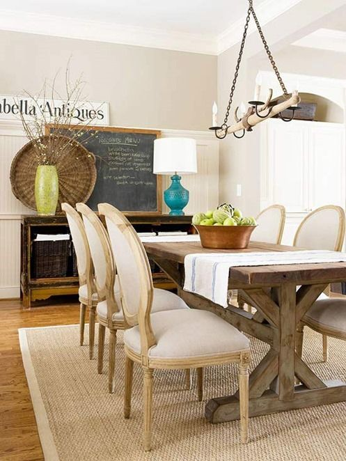 Dining Room Rug Rules mix farm style table with French style side chairs