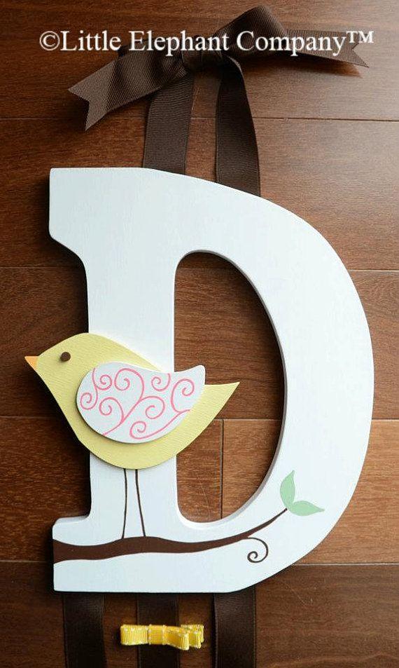 PRONTO a spedire D - parete in legno lettera capelli Fermacapelli, Clip, Clippie, titolare di prua con uccello