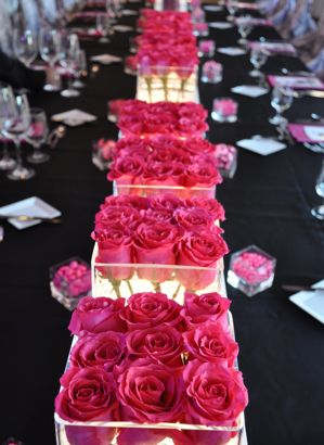 Clear Glass Vases + bright pink roses - perfect centerpiece