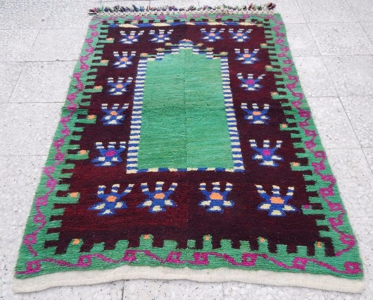 Vintage Green Color Small Antalya Shaggy Tulu Rug 3.6x5 ft,Area Rug Kelim Carpet #Cottage