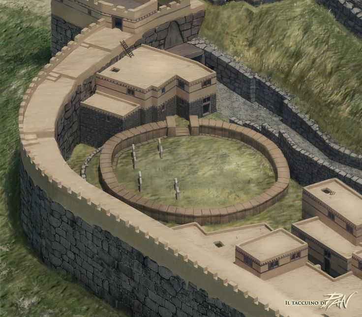 Ricostruzione area del Circolo Funerario A di Micene poco prima del 1200 a.C.