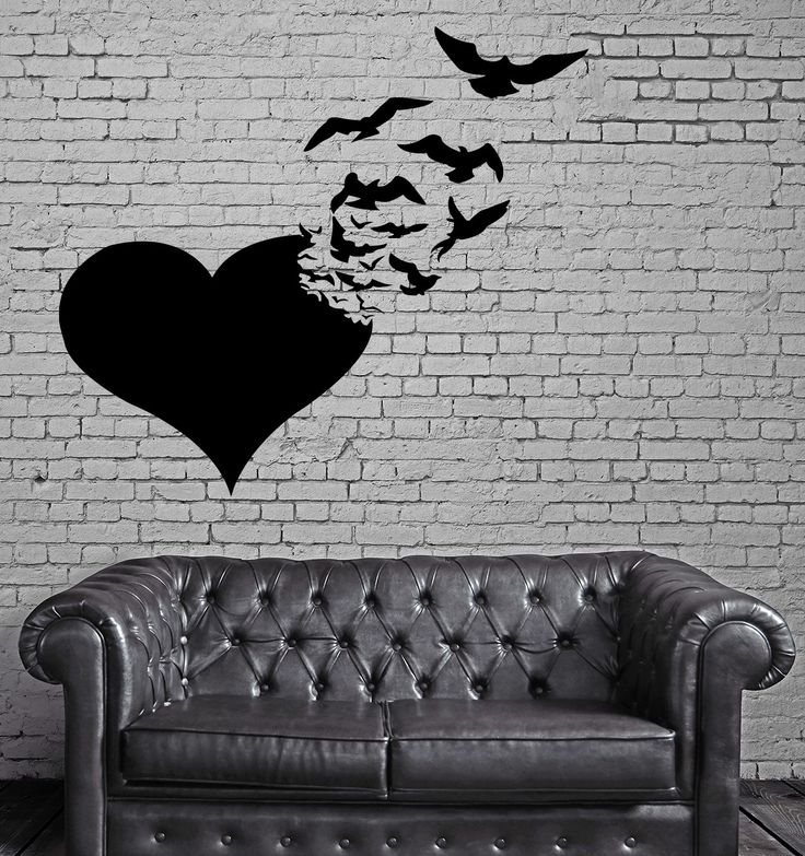 Love Wall Stickers Heart Birds Abstract Romance Vinyl