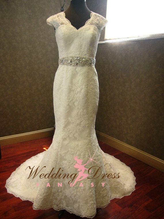 Keyhole Wedding Dress with Cap Sleeves and by WeddingDressFantasy.com