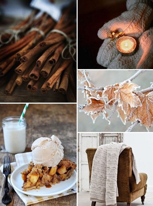 {inspiration #73} crisp autumn days and cozy nights by the fire with hot toddies, firelight/candlelight, warm sweaters, hot apple/peach pie