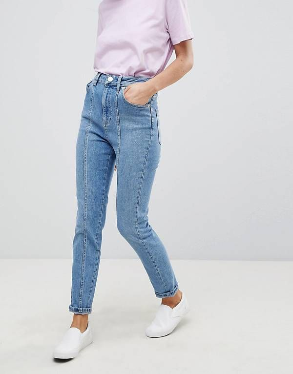 ASOS FARLEIGH High Waist Slim Mom Jeans With Panel Seams In