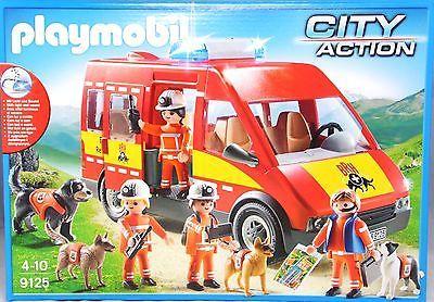 Playmobil Exclusiv 9125 Rettungshundestaffel mit Licht & Sound Hunde Figuren NEU
