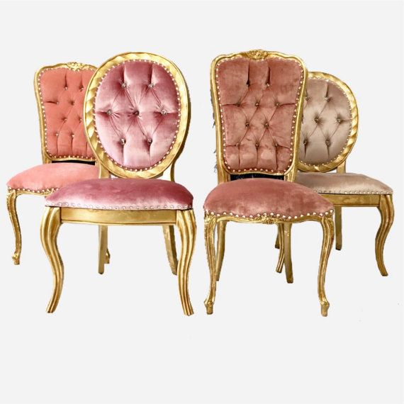 Awesome Set Of 4 Gold Pink And Navy Vintage Silk Velvet Tuft Eclectic Swarovski  Crystal Chairs Custom