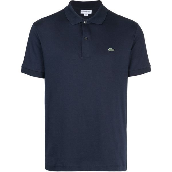Lacoste logo patch polo shirt ($105) ❤ liked on Polyvore featuring men's fashion, men's clothing, men's shirts, men's polos, blue, lacoste men's shirts, mens polo shirts, mens blue shirt, mens navy blue polo shirts and mens logo t shirts