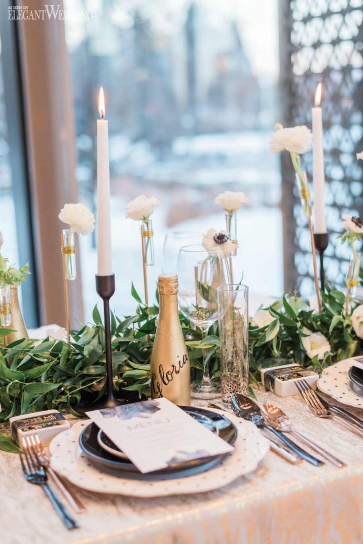 Gold Champagne Bottle Table Decor, Greenery Floral Runner, Green and Gold Wedding Table Setting | Glam New Year's Eve Wedding Ideas | ElegantWedding.ca