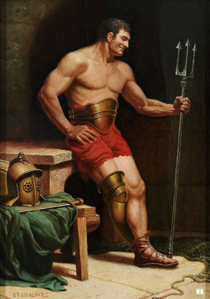 Smiling Gladiator with Trident. 19th. century. Stefan Bakalowicz. Polish. 1857-1947. oil on canvas. http://hadrian6.tumblr.com