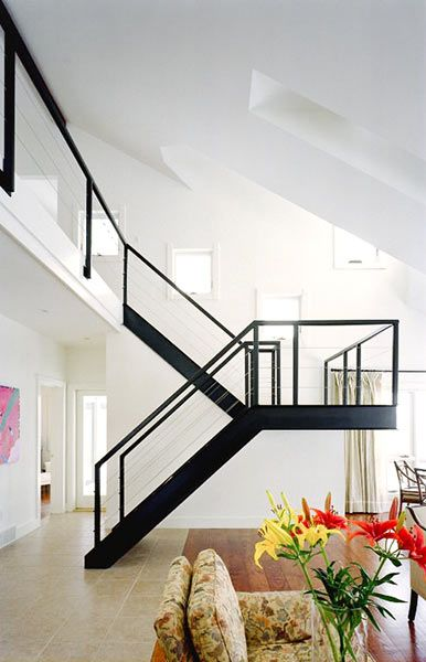 Living Room with Floating Staircase