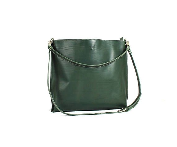 Woman LEATHER HANDBAG/Shoulder leather bag/Green leather tote
