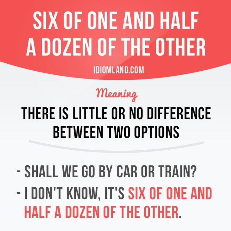 "English idiom with its meaning and an example: 'Six of one, half a dozen of the other'. One of a series of ""Idiom Cards"" created by IdiomLand.com"