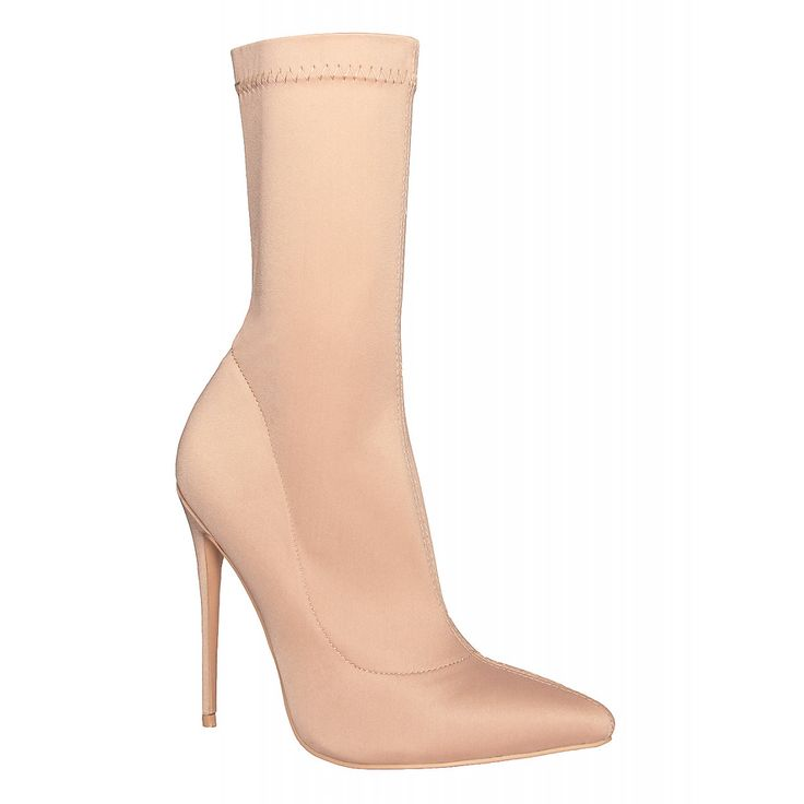Jadah Nude Lycra Pointed Toe Ankle Boots : Simmi Shoes