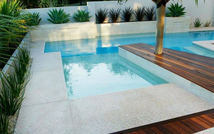 Three Types Of Outdoor Swimming Pool Decks Swimming Pools Pool Landscape Design Pool Decks