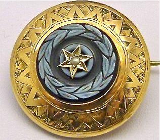 Antiek Italiaans Byzantijns pietra dura mozaiek 18 kt 750 goud en zaad parel broche