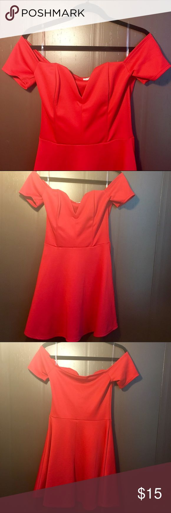 Red off shoulder dress Beautiful red off the shoulder dress with v neck! Size large, and would make a beautiful date night/ formal/ Me Before You costume dress. Charlotte Russe Dresses Strapless
