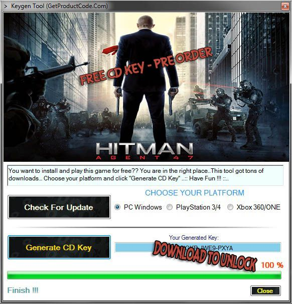 Hitman: Agent 47 Free Game CD KEY 2015