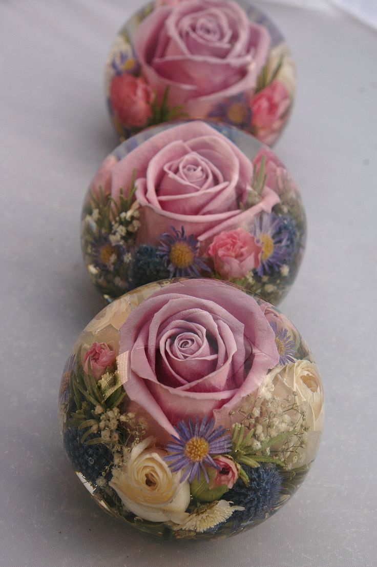 wedding flower paperweights made with flowers preserved