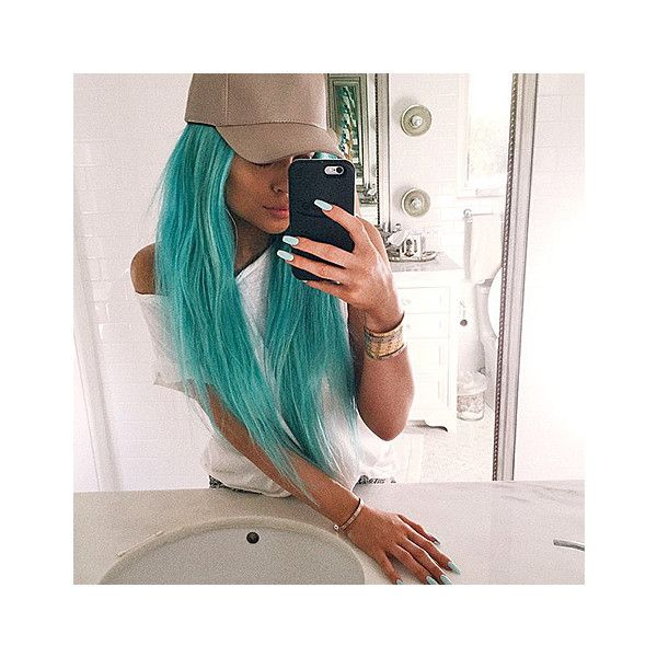 Kylie Jenner Dyes Hair Back to Aqua Blue Color Pre-Coachella: Photo -... ❤ liked on Polyvore featuring hair, kylie jenner, kylie and pictures