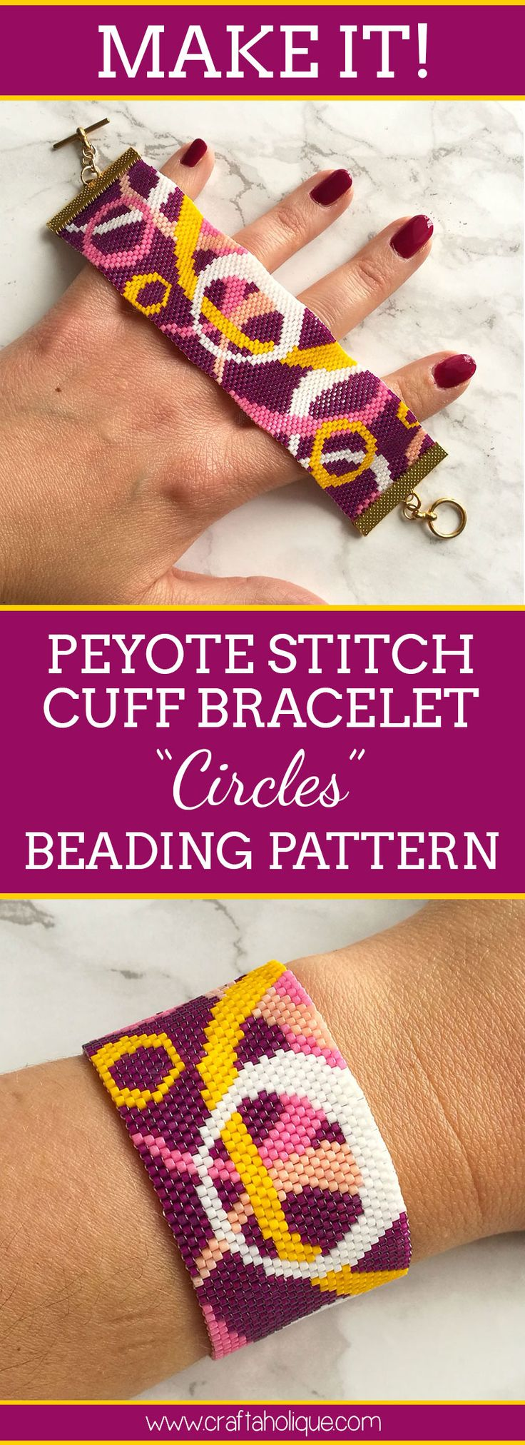 My funky Circles pattern will keep peyote stitch addicts entertained for hours! Find out more about this peyote bracelet pattern at Craftaholique.