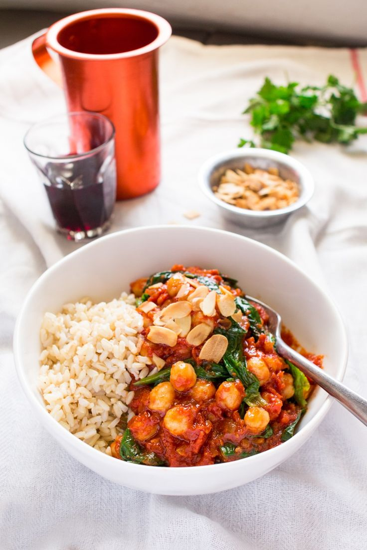 Spanish chickpea and spinach stew portion