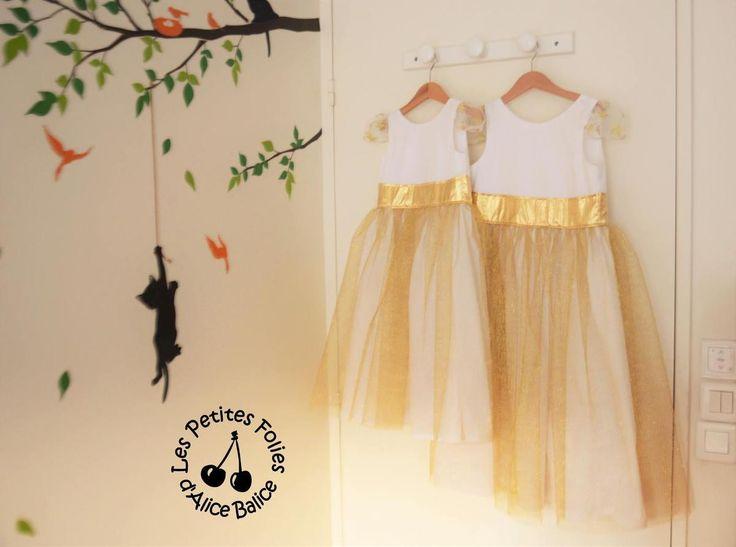DIY Patron / Patern couture : robe de fête pour petite fille (rube bustier plissée tulle doré)