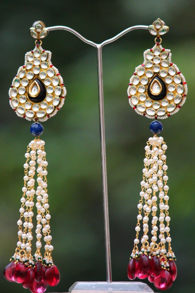 Stunning Pearl & Kundan Earrings | India1001.com