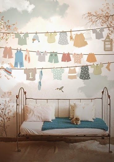 For A Laundry Room Natch Little Hands Wallpaper Mural Drying Clothes Murals Trompe L Oeil