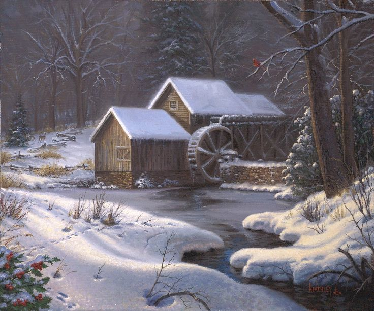 Closed for the Holidays by Mark Keathley ~ winter country scene grist mill stream