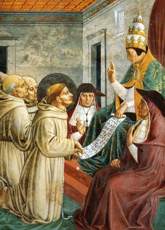 Benozzo Gozzoli - Il Sogno di Innocenzo III e l'Approvazione della regola (dettaglio) - affresco - 1450 -1452 - Montefalco - Cappella del Coro - chiesa di San Francesco