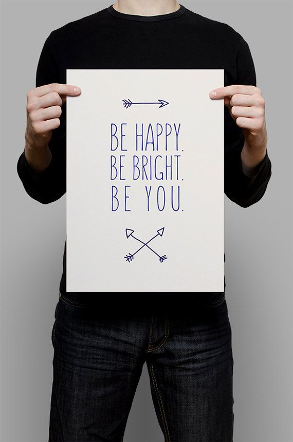 #Be #Happy #Bright #You #Print #Digital #Download #Printable #Home #Decor #Poster #Typography #Inspirational #Quote #Art #Erhico #Design