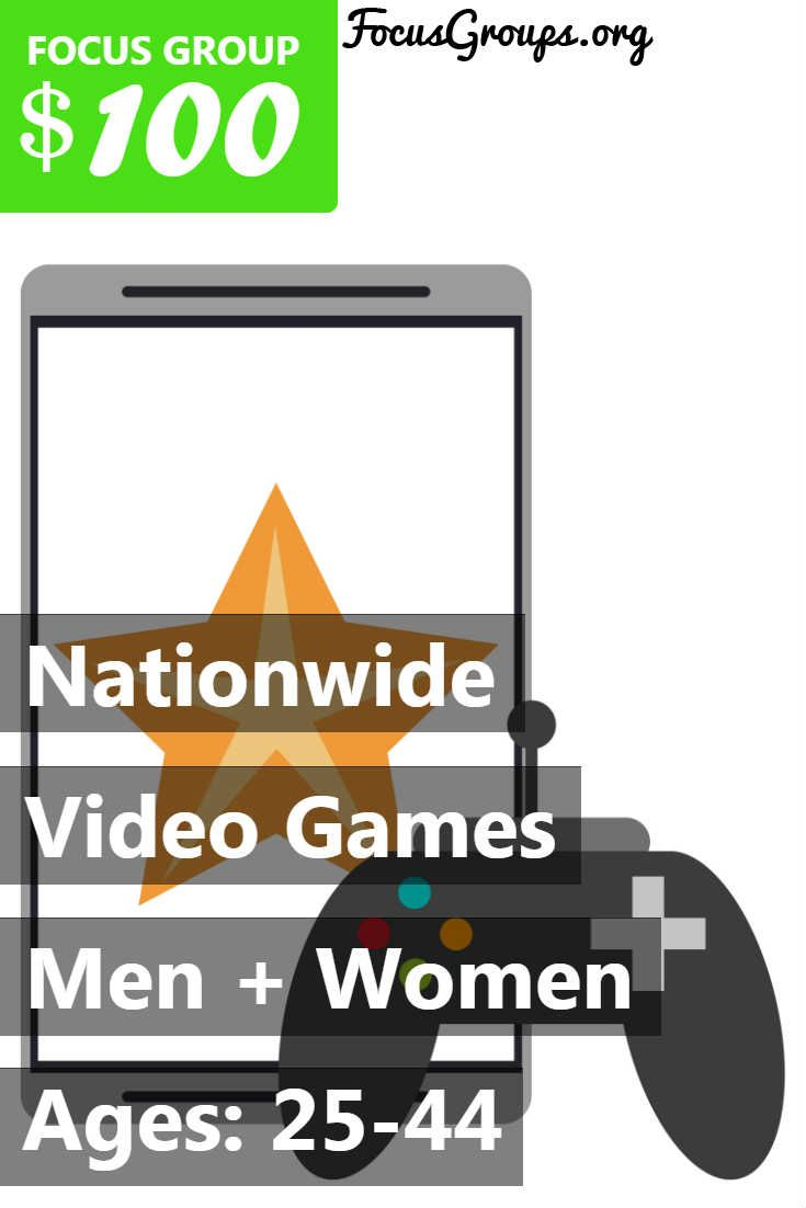 Focus Group on Video Games – $100