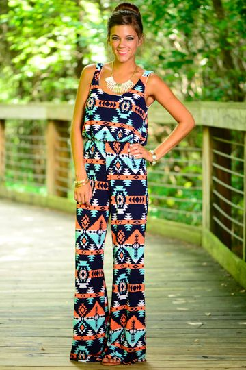 We adore this aztec jumpsuit! The trendy print and amazing colors is a stand-out look! The light material will keep you cool for the warmer months!