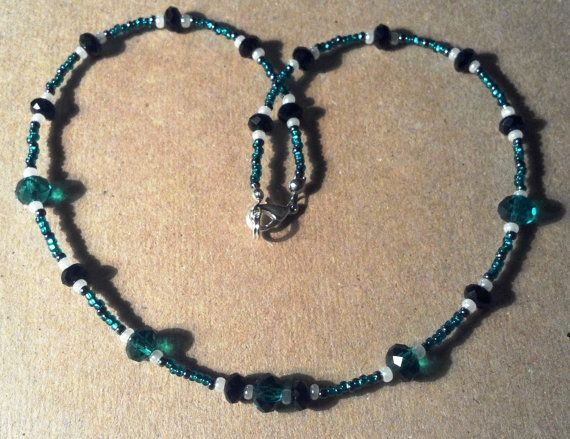 16 inch handmade teal black and white Chinese by MGBeadCreations, $25.00